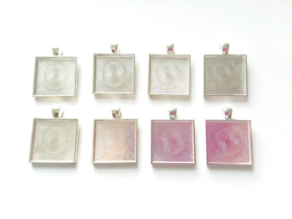 8PC Silver 25mm, 1 Inch Square blank Pendant Tray Bezel Setting
