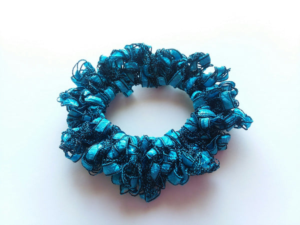 Crocheted Trellis Yarn Stretchy Hair Scrunchie - 16 Color Choices