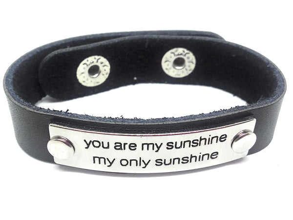 Inspirational Message Connector Leather Snap Bracelet - you are my sunshine my only sunshine