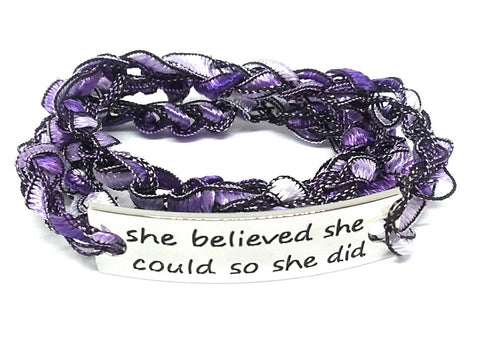 Inspirational Message Crocheted Ladder Yarn Wrap Around Bracelet - she believed she could so she did