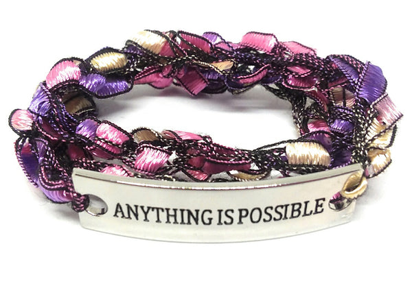 Inspirational Message Crocheted Ladder Yarn Wrap Around Bracelet - ANYTHING IS POSSIBLE