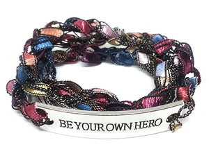 Inspirational Message Crocheted Ladder Yarn Wrap Around Bracelet - BE YOUR OWN HERO