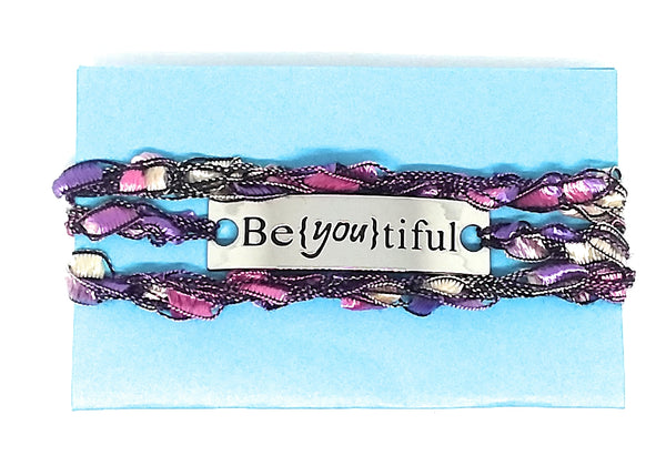 Inspirational Message Crocheted Ladder Yarn Wrap Around Bracelet - Be{You}tiful