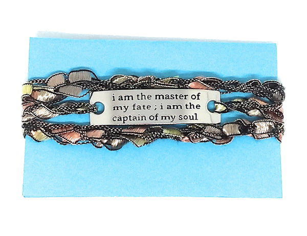 Inspirational Message Crocheted Ladder Yarn Wrap Around Bracelet - i am the master of my fate i am the captain of my soul