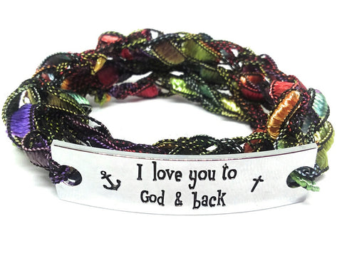 Inspirational Message Crocheted Ladder Yarn Wrap Around Bracelet - I love you to God & back