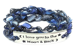 Inspirational Message Crocheted Ladder Yarn Wrap Around Bracelet - I love you to the Moon & back
