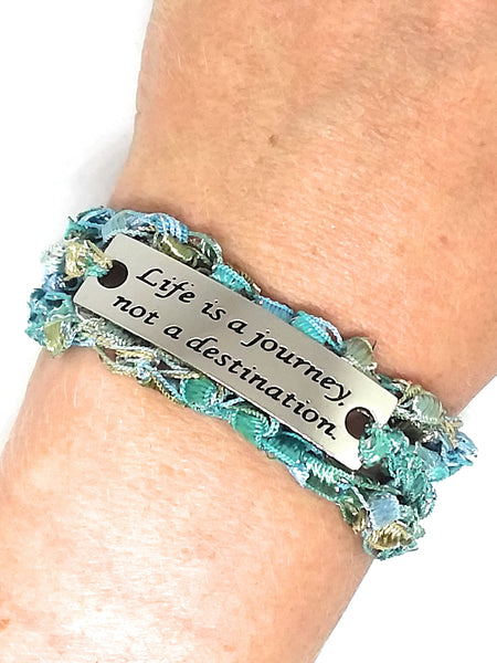 Inspirational Message Crocheted Ladder Yarn Wrap Around Bracelet - Life is a journey not a destination