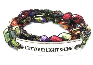 Inspirational Message Crocheted Ladder Yarn Wrap Around Bracelet - LET YOUR LIGHT SHINE