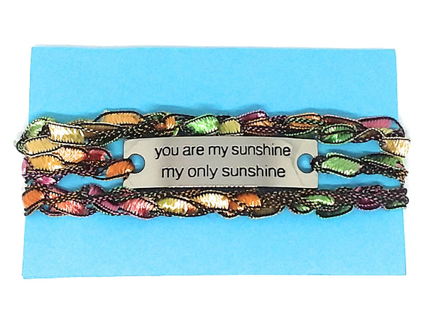 Inspirational Message Crocheted Ladder Yarn Wrap Around Bracelet - you are my sunshine my only sunshine