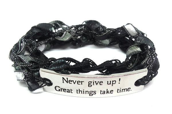 Inspirational Message Crocheted Ladder Yarn Wrap Around Bracelet - Never Give Up! Great Things Take Time.