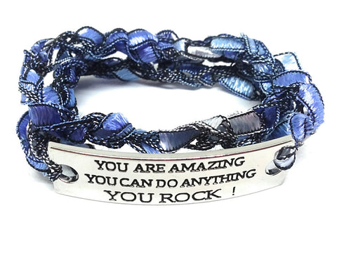 Inspirational Message Crocheted Ladder Yarn Wrap Around Bracelet - YOU ARE AMAZING YOU CAN DO ANYTHING YOU ROCK!
