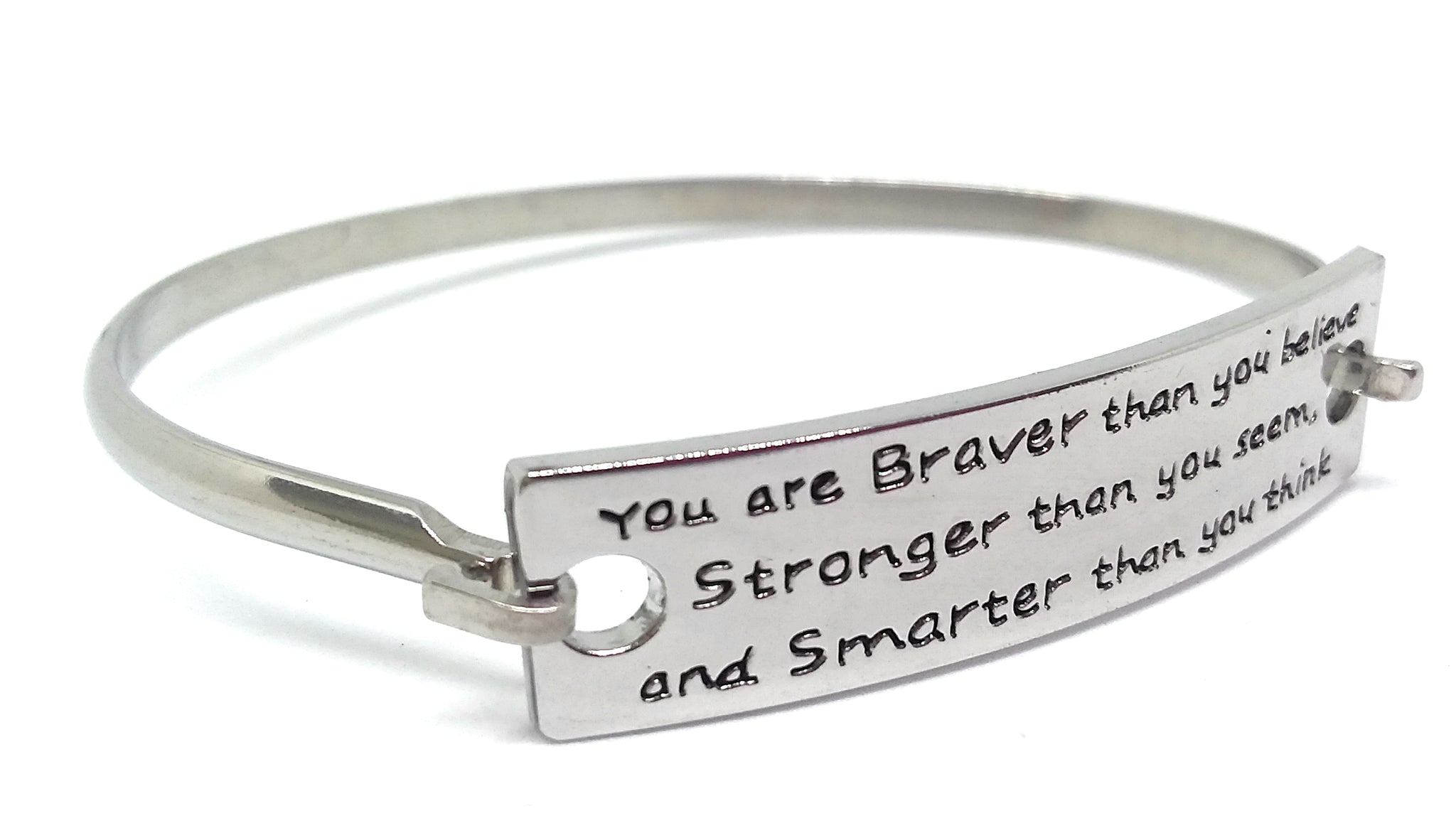 Stainless Steel Inspirational Message Connector Bangle Bracelet - You are braver than you believe stronger than you seem and smarter than you think