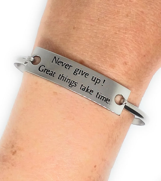 Stainless Steel Inspirational Message Connector Bangle Bracelet - Never Give Up! Great things take time.