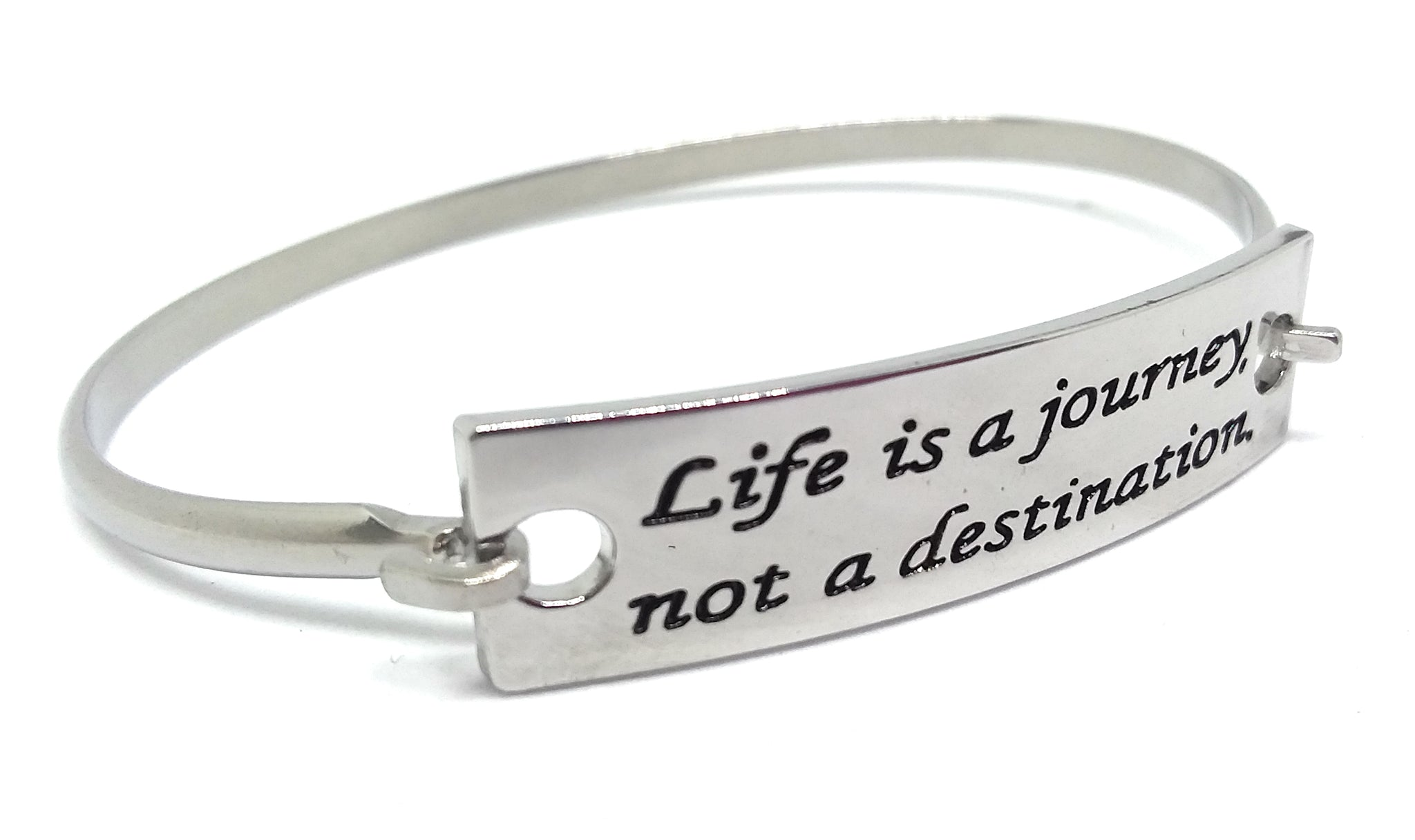 Stainless Steel Inspirational Message Connector Bangle Bracelet - Life is a journey not a destination