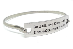 Stainless Steel Inspirational Message Connector Bangle Bracelet - Be still, and know that I am God. Psalm 46:10