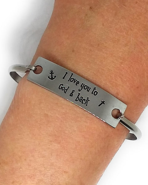 Stainless Steel Inspirational Message Connector Bangle Bracelet - I love you to God & back
