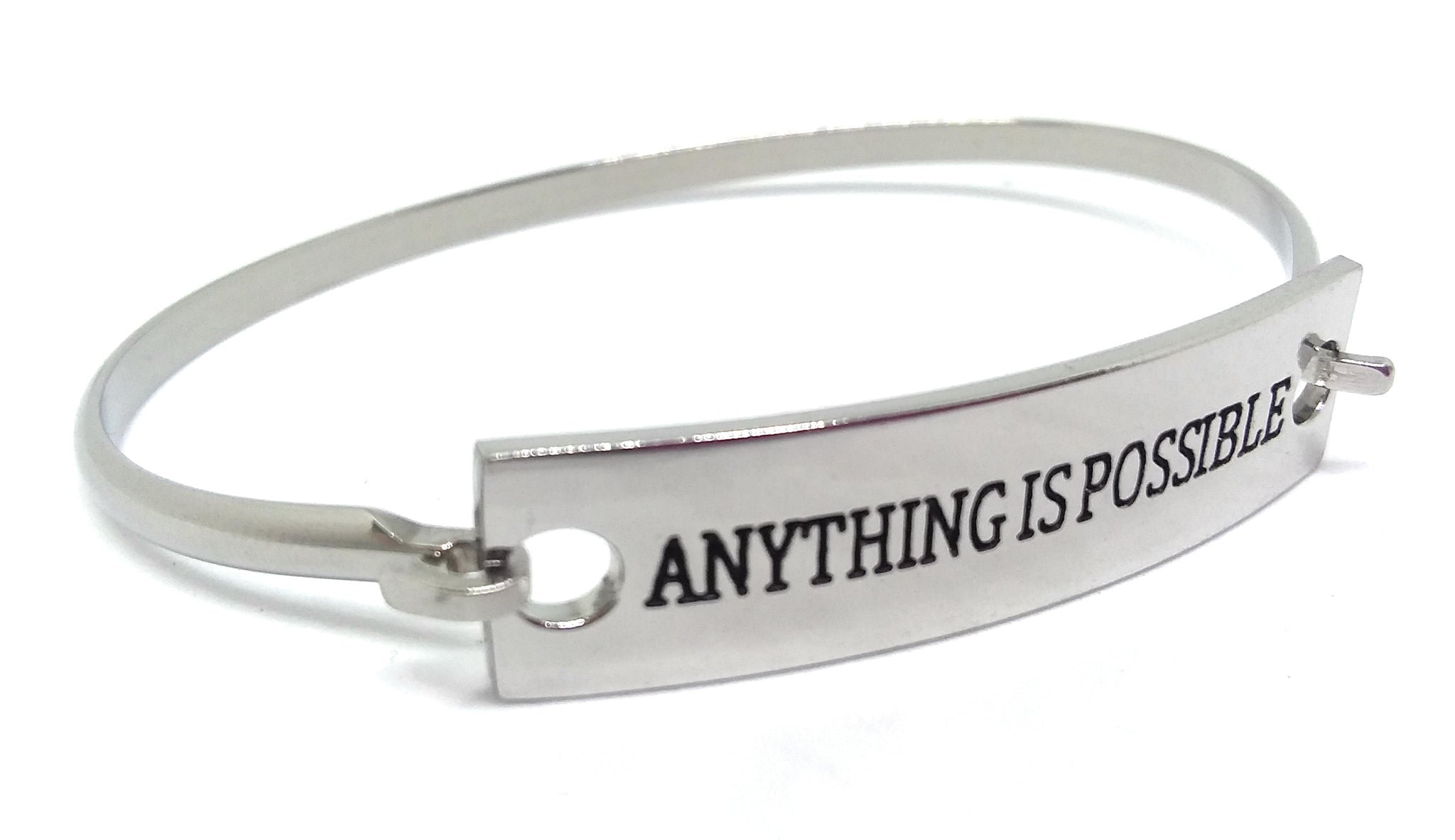 Stainless Steel Inspirational Message Connector Bangle Bracelet - ANYTHING IS POSSIBLE