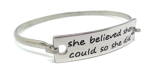 Stainless Steel Inspirational Message Connector Bangle Bracelet - she believed she could so she did