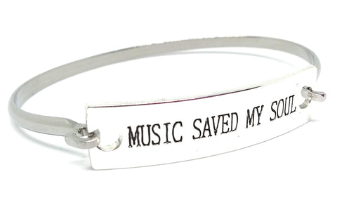 Stainless Steel Inspirational Message Connector Bangle Bracelet - MUSIC SAVED MY SOUL