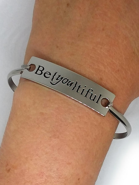 Stainless Steel Inspirational Message Connector Bangle Bracelet - Be{You}tiful