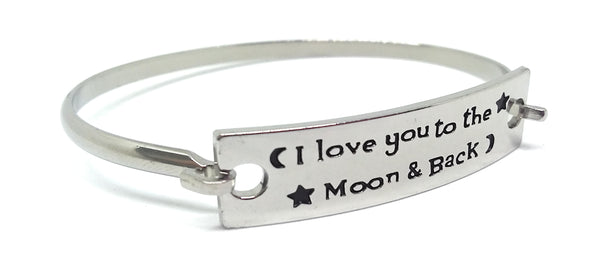 Stainless Steel Inspirational Message Connector Bangle Bracelet - I love you to the moon & back