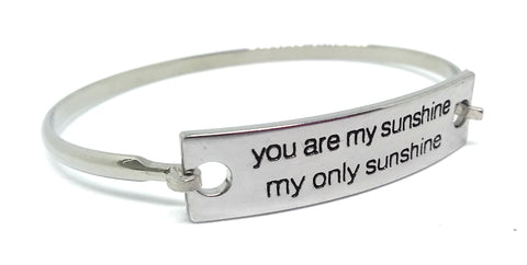 Stainless Steel Inspirational Message Connector Bangle Bracelet - you are my sunshine my only sunshine