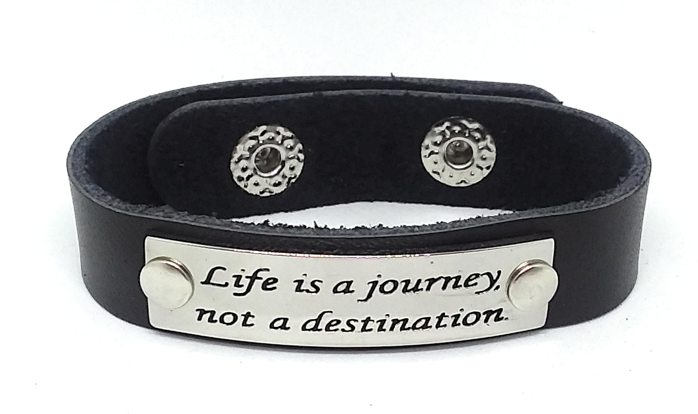 Inspirational Message Connector Leather Snap Bracelet - Life is a journey not a destination