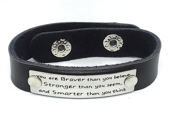 Inspirational Message Connector Leather Snap Bracelet - You are braver that you believe stronger than you seem and smarter than you think