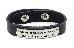 Inspirational Message Connector Leather Snap Bracelet - she believed she could so she did