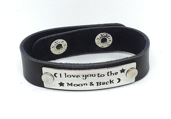 Inspirational Message Connector Leather Snap Bracelet - I love you to the moon & back