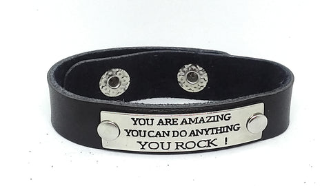 Inspirational Message Connector Leather Snap Bracelet - YOU ARE AMAZING YOU CAN DO ANYTHING YOU ROCK!