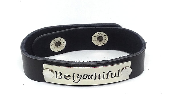 Inspirational Message Connector Leather Snap Bracelet - Be{You}tiful