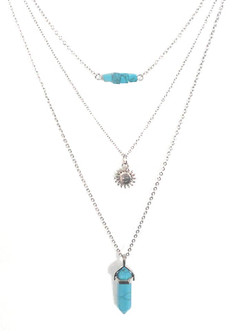 Gemstone & Charm Layered Necklace Set - Blue Howlite