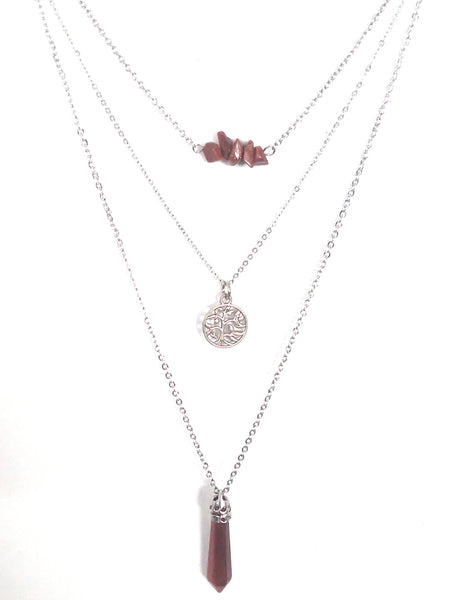Gemstone & Charm Layered Necklace Set - Goldstone