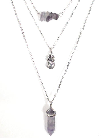 Gemstone & Charm Layered Necklace Set - Rainbow Fluorite
