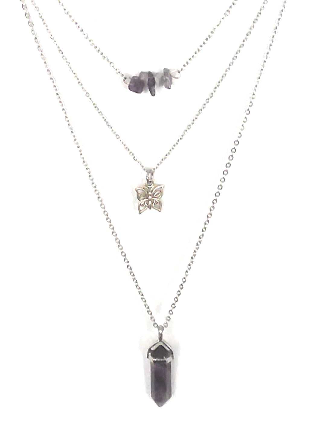 Gemstone & Charm Layered Necklace Set - Amethyst