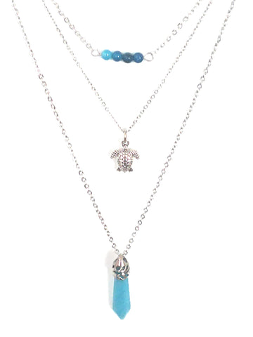 Gemstone & Charm Layered Necklace Set - Blue Agate