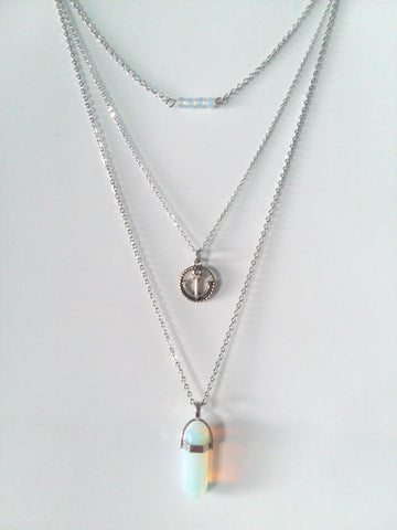 Gemstone & Charm Layered Necklace Set - Sea Opal