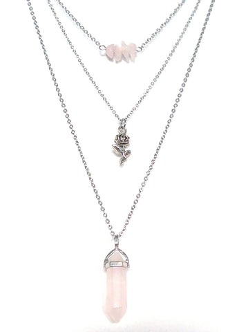 Gemstone & Charm Layered Necklace Set - Rose Quartz