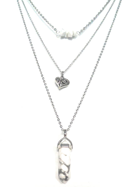 Gemstone & Charm Layered Necklace Set - White Howlite