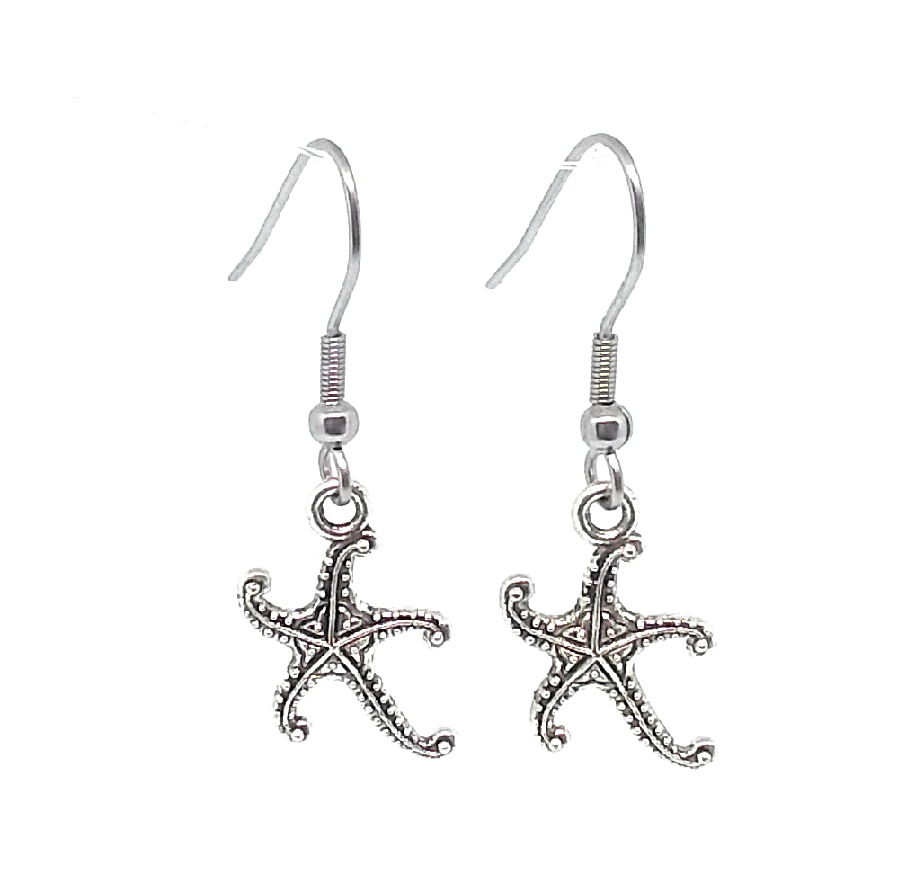 Starfish Charm Dangle Earrings with Stainless Steel Ear Wires