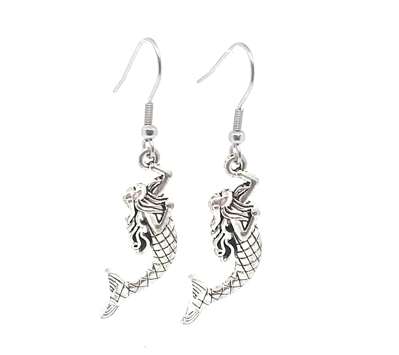 Mermaid Charm Dangle Earrings with Stainless Steel Ear Wires (Mermaid #3)