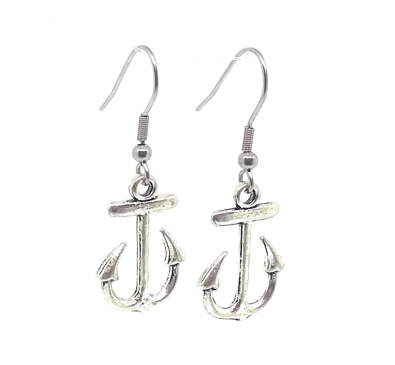 Anchor Charm Dangle Earrings with Stainless Steel Ear Wires