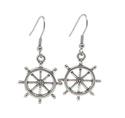 Ship's Wheel Charm Dangle Earrings with Stainless Steel Ear Wires