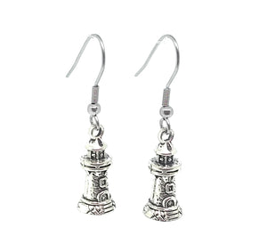 Lighthouse Charm Dangle Earrings with Stainless Steel Ear Wires