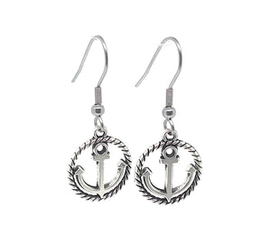 Rope Anchor Charm Dangle Earrings with Stainless Steel Ear Wires