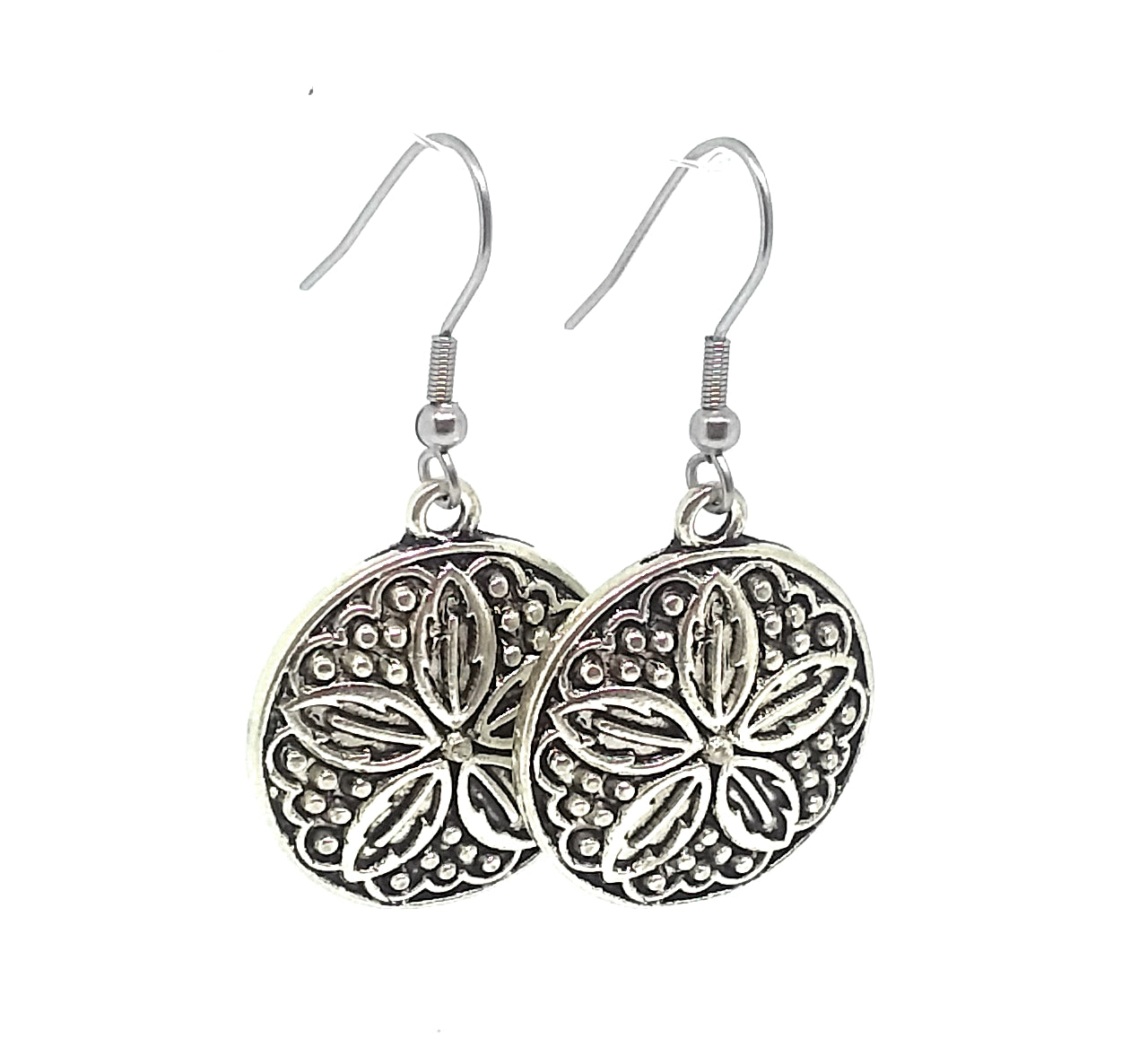Sand Dollar Charm Dangle Earrings with Stainless Steel Ear Wires
