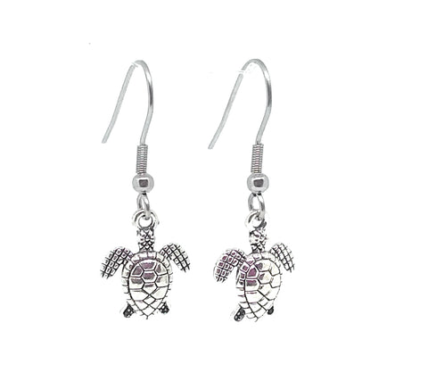 Sea Turtle Charm Dangle Earrings with Stainless Steel Ear Wires