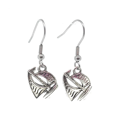 Sail Boat Charm Dangle Earrings with Stainless Steel Ear Wires