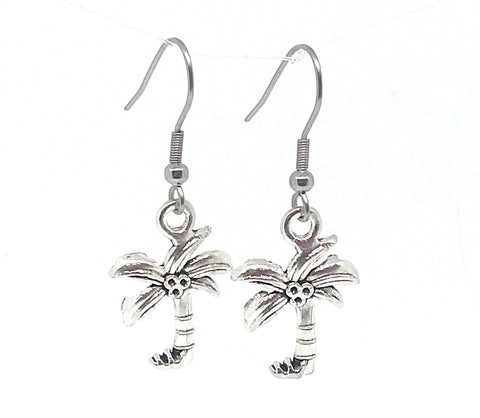 Palm Tree/Coconut Tree Dangle Earrings with Stainless Steel Ear Wires